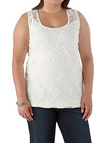 Plus Crochet Tank with Contrast Back