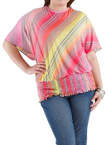 Plus Smocked Bottom Bias Striped Top