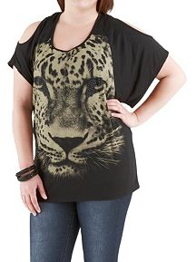 Plus Cold Shoulder Cheetah Top with Embellishments