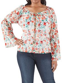 Plus Long Sleeve Floral Lace Peasant Top