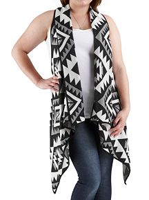Plus Knot Back Tribal Print Sweater Vest