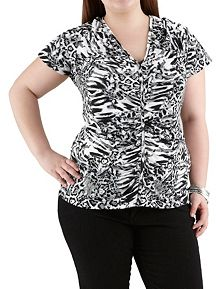 Plus Rouched Animal Print Short Sleeve Top