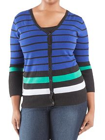 Plus 3/4 Sleeve Multi Stripe Cardigan