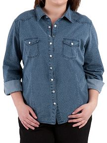 Plus Long Sleeve Snap Button Polka Dot Denim Top