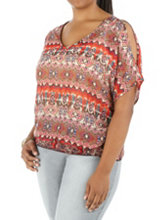 /product/Plus-Sheer-Tropical-Print-Cold-Shoulder-Top/157214.uts