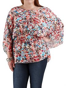 Plus Aztec Print Cold Shoulder Sheer Poncho