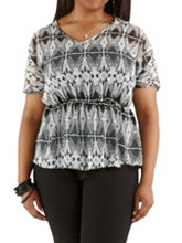 /product/Plus-Tribal-Print-Elastic-Waist-Sheer-Top/157409.uts