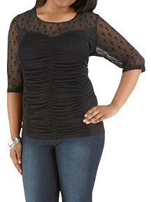 Plus Rouched Front Top with Cross Illusion Detail