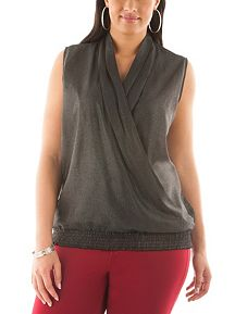 Plus Sleeveless Shimmer Chiffon Top
