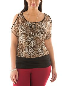 Plus Cold Shoulder Banded Bottom Top with Necklace