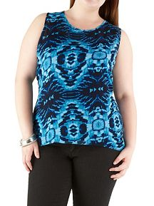 Plus Mirror Geometric Print Chiffon Top