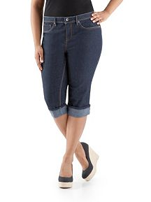 Plus Super Stretch Cuffed Denim Capri