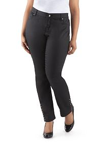 Plus Curvy Fit Studded Bottom Coated Skinny Jean