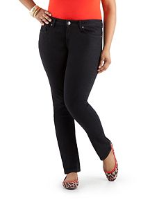 Plus Curvy Fit Black 5 Pocket Skinny Jeans