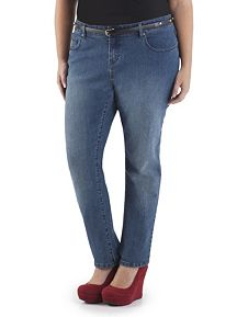 Plus Curvy Fit Medium Wash 5 Pocket Skinny Jeans