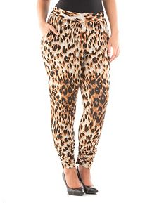 Plus Animal Print Knit Harem Pants