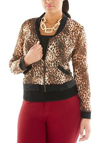 Plus Animal Print Chiffon Jacket