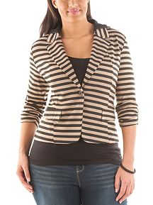 Plus Striped Blazer with Hood
