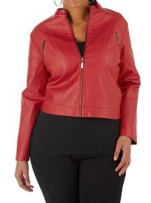 Plus Motocross Faux Leather Zip Up Jacket