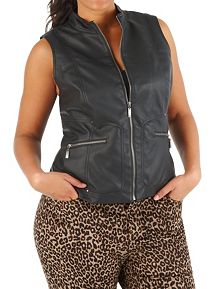 Plus Faux Leather Moto Vest