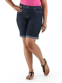 Plus Super Stretch Rolled Cuff Denim Bermuda Short