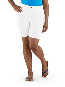 Plus Super Stretch Rolled Cuff White Bremuda Short