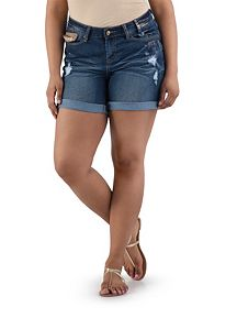 Plus Curvy Fit Gold Accented Roll Cuff Shorts