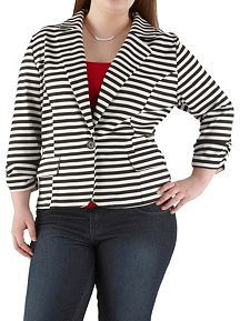 Plus 1 Button Rouched Sleeve Striped Blazer