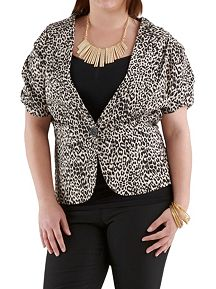 Plus Animal Print Short Sleeve Blazer