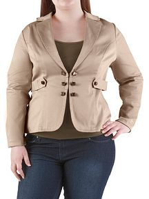 Plus Sateen Millitary Blazer with Stud Detail