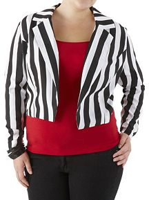 Plus Striped Cropped Blazer