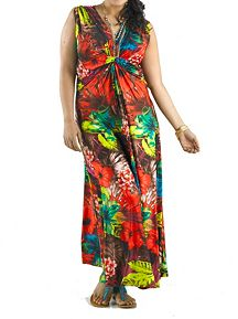 Plus Double V-Neck Knotted Front Floral Print Maxi
