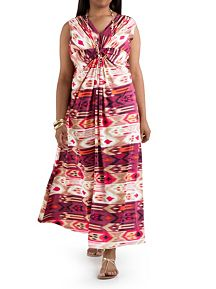 Plus Double V-Neck Knotted Front Aztec Print Maxi