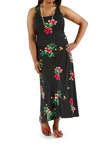Plus Tropical Print Racerback Maxi Dress