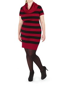 Plus Striped Ribbed Cowl Neck Sweater Dress