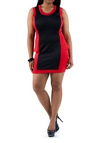Plus Color Blocked Peplum Dress