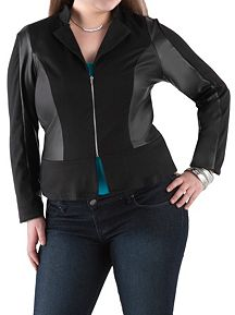 Plus Ponte Peplum Blazer with Faux Leather Accents