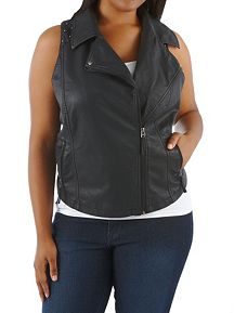 Plus Faux Leather Moto Vest with Studded Shoulders