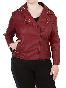 Plus Asymmetrical Zipper Studded Jacket