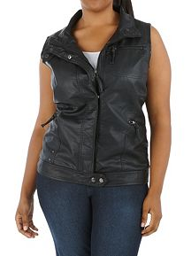 Plus Faux Leather Zip Up Moto Vest