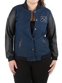 Plus Denim Varsity Jacket with Faux Leather Sleeve