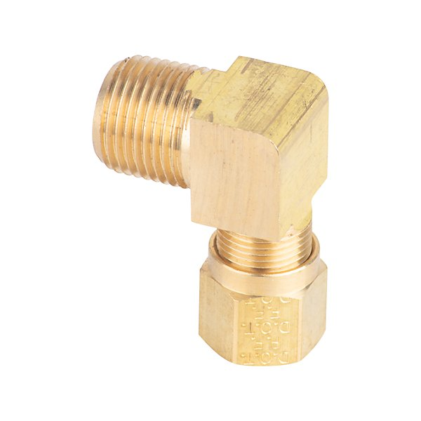 Fairview - Extruded 90° Street Elbow D.O.T. 3/8 Tube x 3/8 MPT - Brass Pipe Fitting - FAI1469-6C