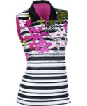 EP Pro Women's Tropical Stripe Sleeveless Polo