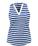 Jofit Women's Cut Away Johnny Collar Stripe Sleeveless Polo