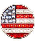 Bella Women's Flag USA Crystal Hat Clip Ball Marker