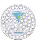 Bella Women's Martini Crystal Hat Clip Ball Marker