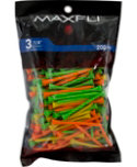 Maxfli 3 1/4'' Assorted Golf Tees - 200 Pack