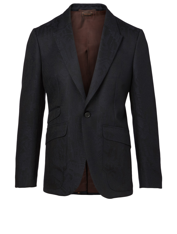 ERMENEGILDO ZEGNA Wool Embroidered Jacket Men's Blue