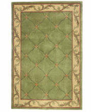 Fleur de Lis Hand-Carved Wool Rectangular Rugs