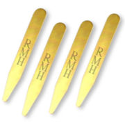 8-pc. Brass Engravable Collar Stays Set in Velvet Pouch